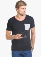 Thisrupt Black Solid Round Neck T-Shirt