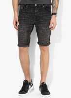 Tom Tailor Black Mid Rise Slim Fit Short