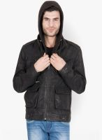 Justanned Solid Black Leather Jacket