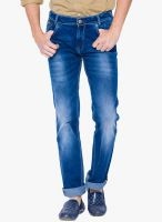 Mufti Blue Mid Rise Regular Fit Jeans