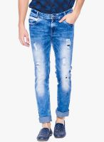 Mufti Light Blue Mid Rise Narrow Fit Jeans