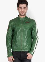 Justanned Solid Green Leather Jacket