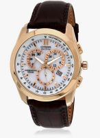 CITIZEN At1183-07A-Sor Brown/White Chronograph Watch