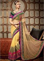 Hypnotex Cream Embroidered Saree