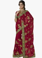 Triveni Sarees Maroon Embroidered Saree
