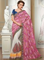 Triveni Sarees Off White Embroidered Saree