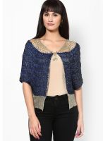 Mayra Solid Blue Shrug