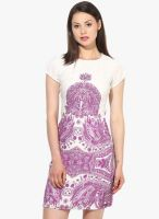 The Vanca Purple Colored Printed Bodycon Dress