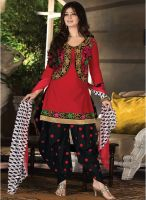 Inddus Red Embroidered Dress Material
