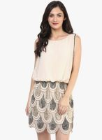 Rose Vanessa Beige Colored Embellished Peplum Dress