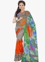Lookslady Grey Printed Saree
