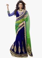 Triveni Sarees Blue Embroidered Lehenga Saree