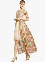 Inddus Beige Colored Embroidered Asymmetric Dress