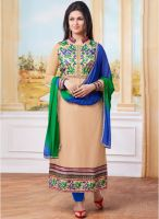 Saree Mall Beige Embroidered Dress Material