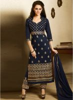 Saree Mall Blue Embroidered Dress Material