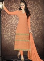 Saree Mall Orange Embroidered Dress Material