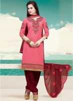 Saree Mall Pink Embroidered Dress Material