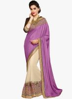 Inddus Purple Embroidered Saree