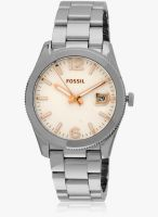 Fossil Es3728i Silver/White Analog Watch