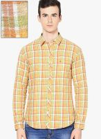 John Players Checks Orange Casual Shirt (Trim Fit)
