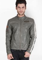 Justanned Solid Grey Leather Jacket