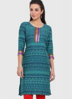Q Answers Green Embroidered Kurtis