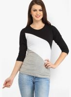 Cation Black Solid Blouse