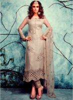 Desi Look Grey Embroidered Dress Material