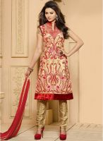 Hypnotex Beige Embroidered Dress Material
