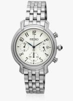Seiko Seiko Women White/Silver Chronograph Watch