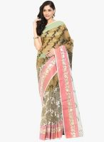 Lookslady Beige Printed Saree With Blouse