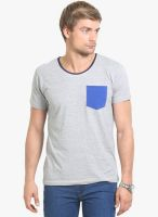 Thisrupt Grey Solid Round Neck T-Shirt
