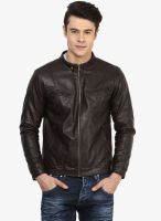 Atorse Brown Solid Leather Jacket