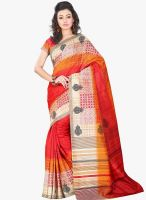 Lookslady Red Printed Saree