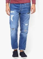 Jack & Jones Blue Mid Rise Regular Fit Jeans (Mike)