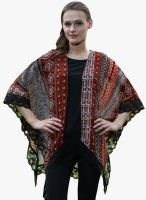 MEIRO Rust Printed Shrug